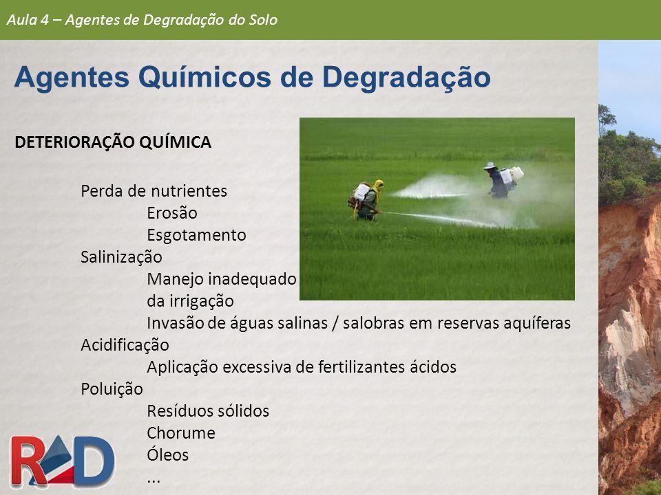 DETERIORAÇÃO QUÍMICA Perda de nutrientes Erosão Esgotamento Salinização Manejo inadequado da irrigação Invasão de águas salinas / salobras em reservas