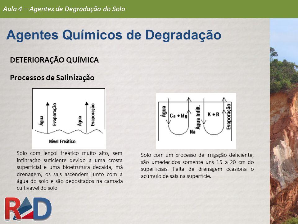 DETERIORAÇÃO QUÍMICA Processos de Salinização Solo com lençol freático muito alto, sem infiltração suficiente devido a uma crosta superficial e uma bi