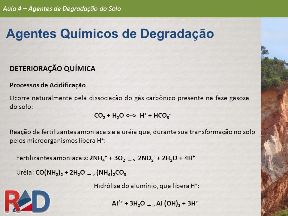 DETERIORAÇÃO QUÍMICA Processos de Acidificação Ocorre naturalmente pela dissociação do gás carbônico presente na fase gasosa do solo: CO 2 + H 2 O H +
