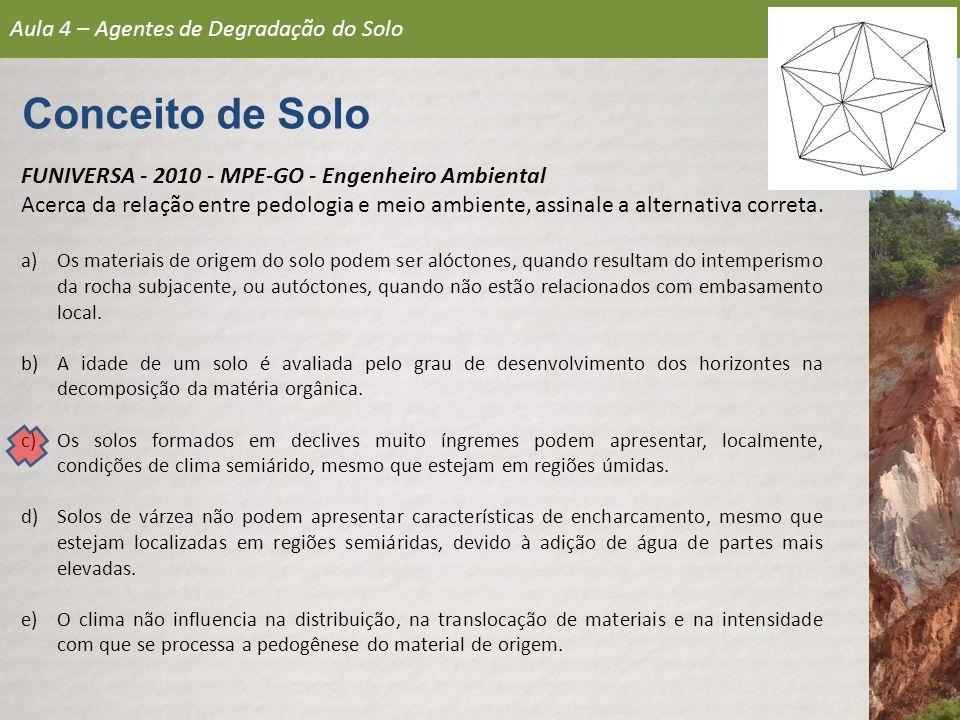 Aula 4 – Agentes de Degradação do Solo Conceito de Solo FUNIVERSA - 2010 - MPE-GO - Engenheiro Ambiental Acerca da relação entre pedologia e meio ambi