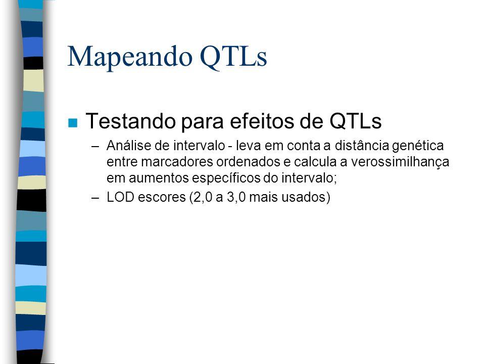 Mapeando QTLs n Testando para efeitos de QTLs –Análise de intervalo - leva em conta a distância genética entre marcadores ordenados e calcula a veross