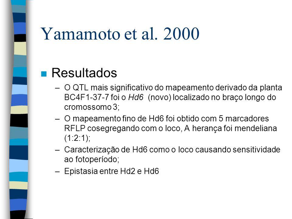 Yamamoto et al. 2000 n Resultados –O QTL mais significativo do mapeamento derivado da planta BC4F1-37-7 foi o Hd6 (novo) localizado no braço longo do