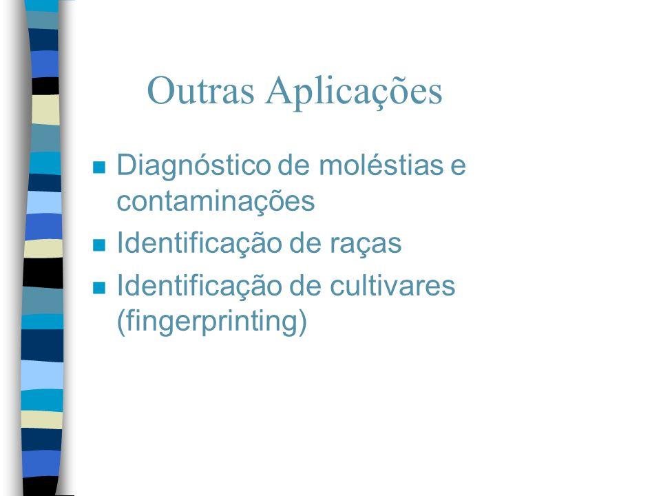 Outras Aplicações n Diagnóstico de moléstias e contaminações n Identificação de raças n Identificação de cultivares (fingerprinting)