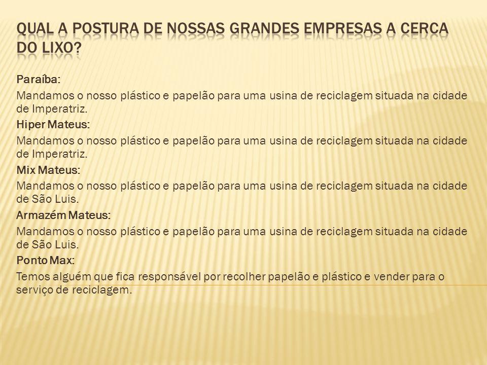 Paraíba: Mandamos o nosso plástico e papelão para uma usina de reciclagem situada na cidade de Imperatriz.
