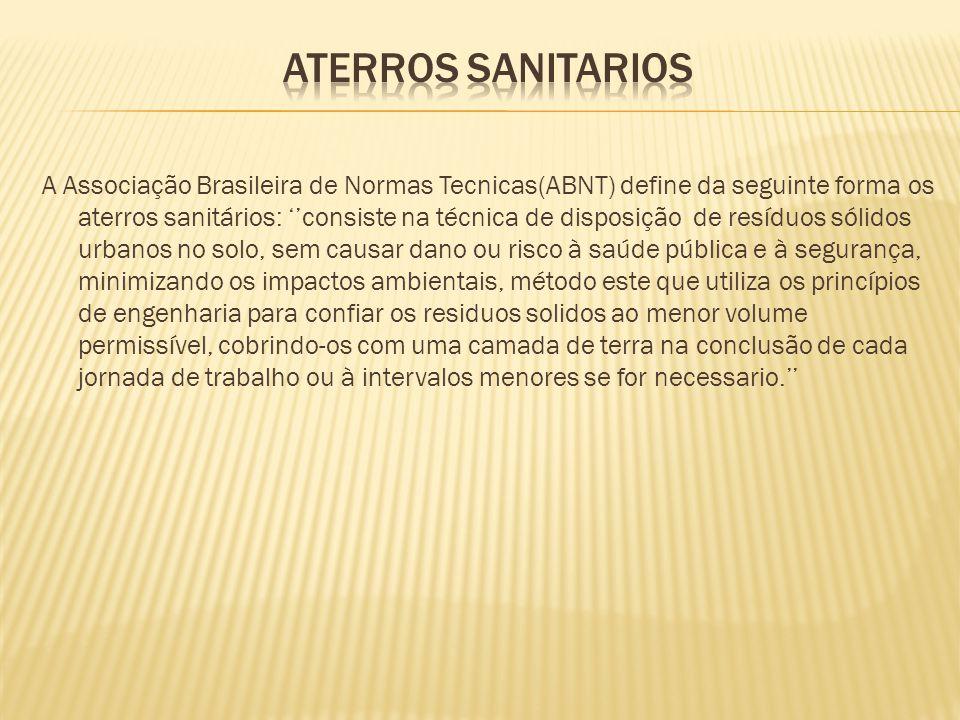 A Associação Brasileira de Normas Tecnicas(ABNT) define da seguinte forma os aterros sanitários: ''consiste na técnica de disposição de resíduos sólid