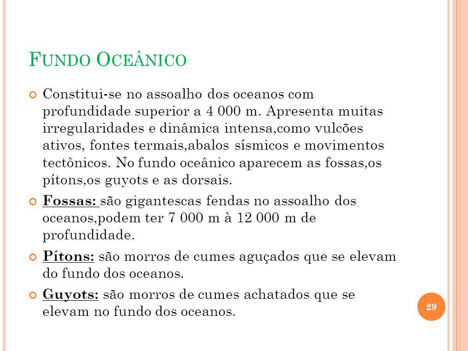 F UNDO O CEÂNICO Constitui-se no assoalho dos oceanos com profundidade superior a 4 000 m. Apresenta muitas irregularidades e dinâmica intensa,como vu