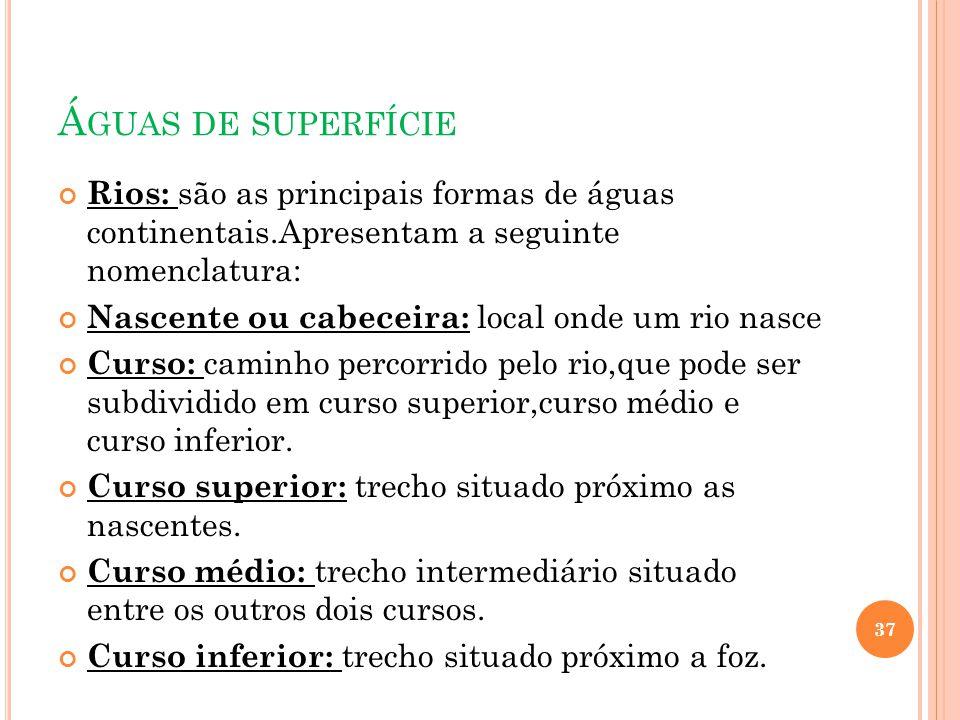 Á GUAS DE SUPERFÍCIE Rios: são as principais formas de águas continentais.Apresentam a seguinte nomenclatura: Nascente ou cabeceira: local onde um rio