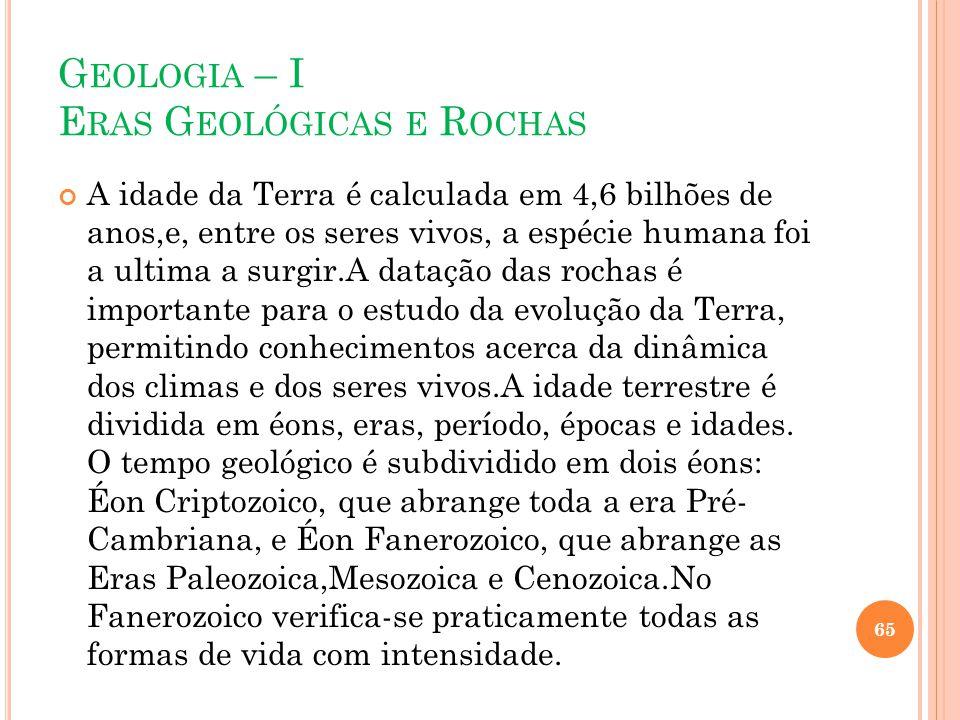 G EOLOGIA – I E RAS G EOLÓGICAS E R OCHAS A idade da Terra é calculada em 4,6 bilhões de anos,e, entre os seres vivos, a espécie humana foi a ultima a