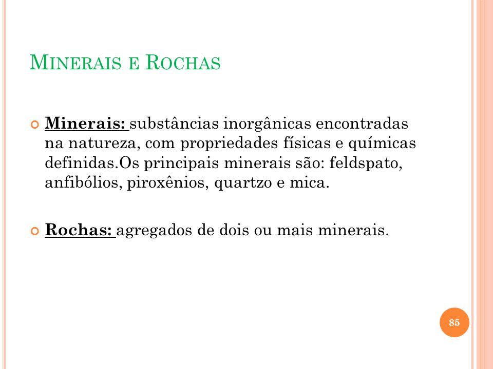 M INERAIS E R OCHAS Minerais: substâncias inorgânicas encontradas na natureza, com propriedades físicas e químicas definidas.Os principais minerais sã