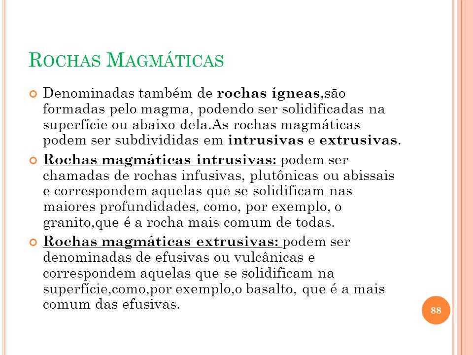 R OCHAS M AGMÁTICAS Denominadas também de rochas ígneas,são formadas pelo magma, podendo ser solidificadas na superfície ou abaixo dela.As rochas magm
