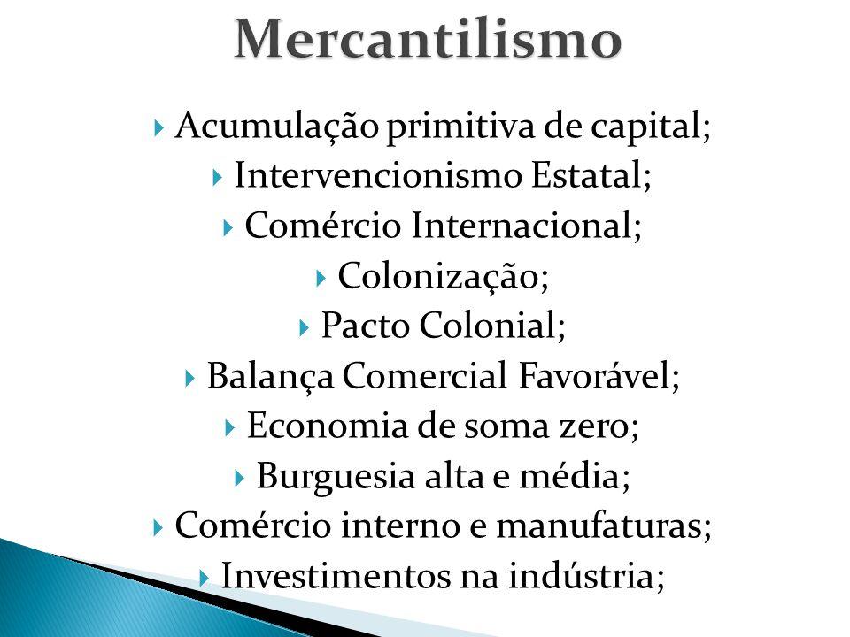  Acumulação primitiva de capital;  Intervencionismo Estatal;  Comércio Internacional;  Colonização;  Pacto Colonial;  Balança Comercial Favorável;  Economia de soma zero;  Burguesia alta e média;  Comércio interno e manufaturas;  Investimentos na indústria;