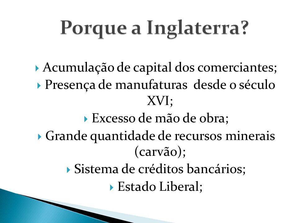  Acumulação de capital dos comerciantes;  Presença de manufaturas desde o século XVI;  Excesso de mão de obra;  Grande quantidade de recursos minerais (carvão);  Sistema de créditos bancários;  Estado Liberal;