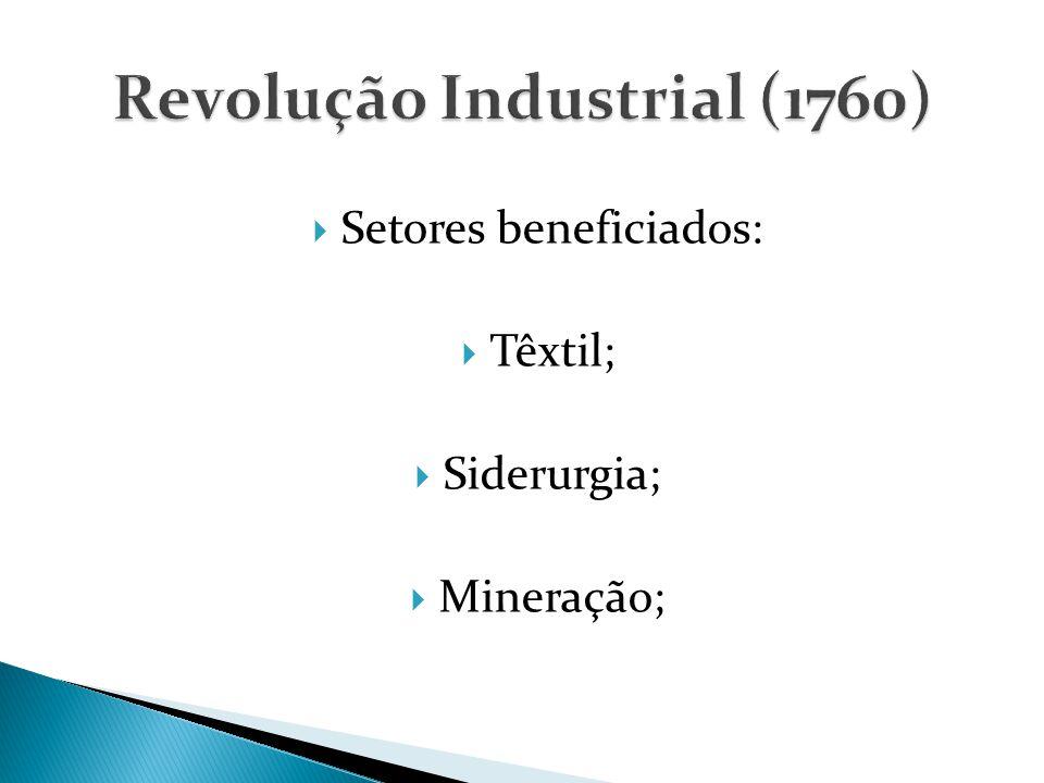  Setores beneficiados:  Têxtil;  Siderurgia;  Mineração;