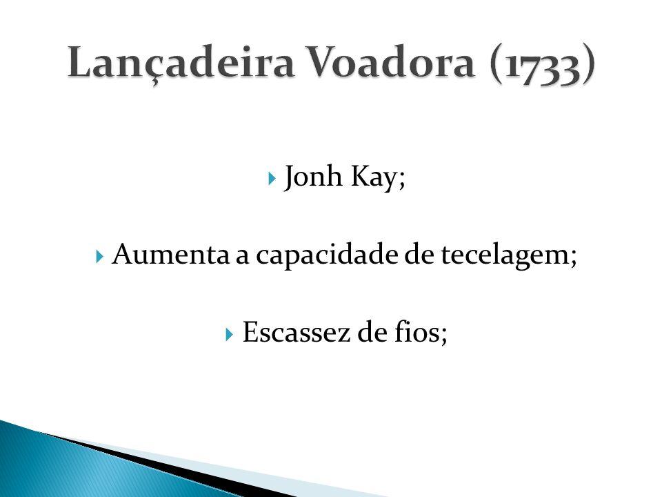  Jonh Kay;  Aumenta a capacidade de tecelagem;  Escassez de fios;