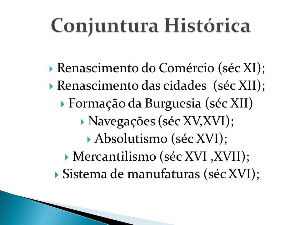 Renascimento do Comércio (séc XI);  Renascimento das cidades (séc XII);  Formação da Burguesia (séc XII)  Navegações (séc XV,XVI);  Absolutismo (séc XVI);  Mercantilismo (séc XVI,XVII);  Sistema de manufaturas (séc XVI);