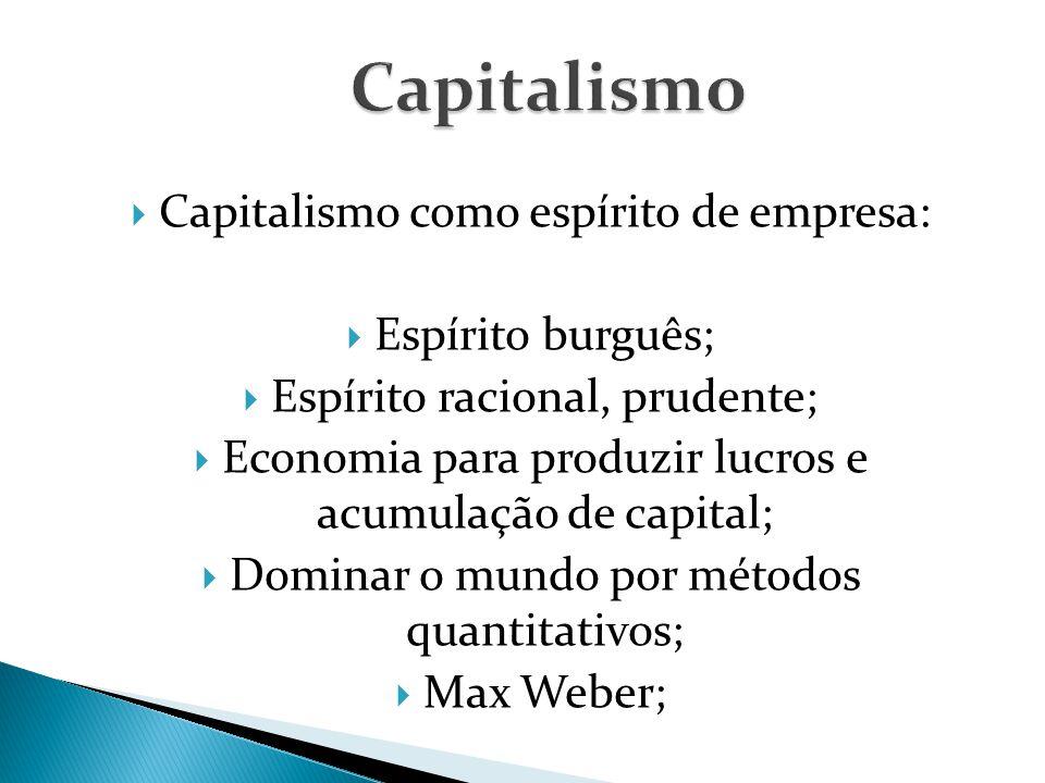  Capitalismo como espírito de empresa:  Espírito burguês;  Espírito racional, prudente;  Economia para produzir lucros e acumulação de capital;  Dominar o mundo por métodos quantitativos;  Max Weber;