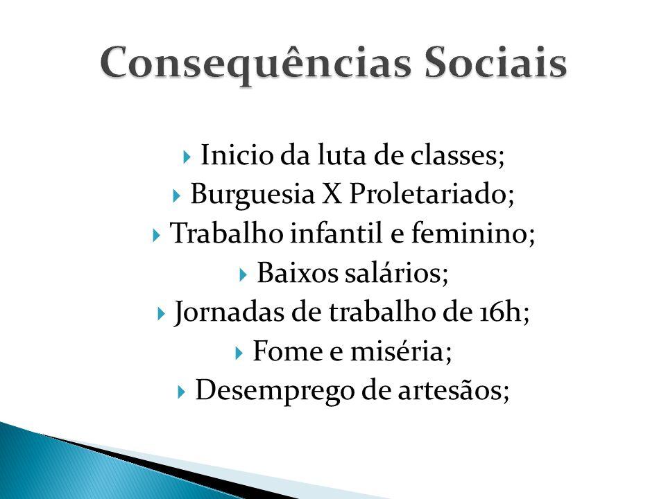  Inicio da luta de classes;  Burguesia X Proletariado;  Trabalho infantil e feminino;  Baixos salários;  Jornadas de trabalho de 16h;  Fome e miséria;  Desemprego de artesãos;