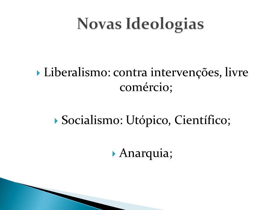  Liberalismo: contra intervenções, livre comércio;  Socialismo: Utópico, Científico;  Anarquia;