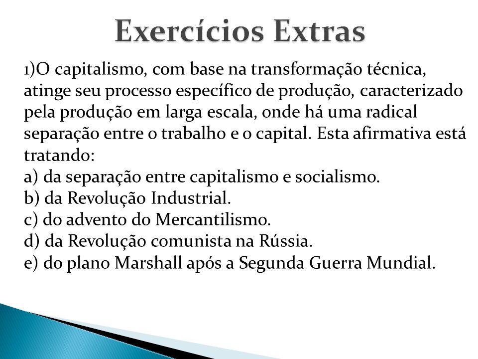 1)O capitalismo, com base na transformação técnica, atinge seu processo específico de produção, caracterizado pela produção em larga escala, onde há uma radical separação entre o trabalho e o capital.