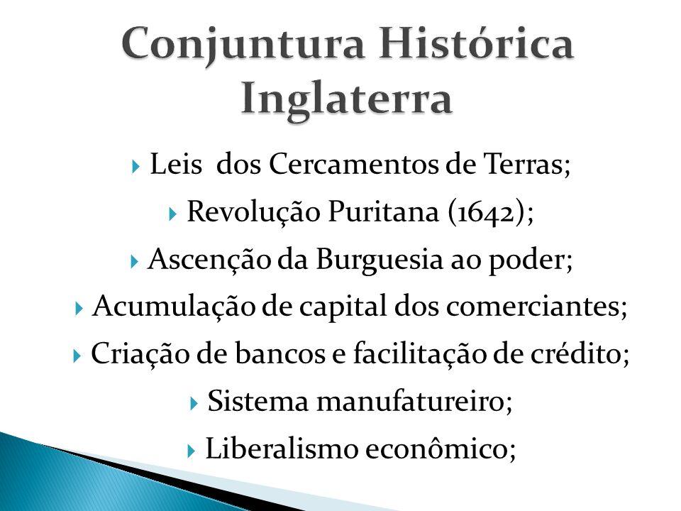  Leis dos Cercamentos de Terras;  Revolução Puritana (1642);  Ascenção da Burguesia ao poder;  Acumulação de capital dos comerciantes;  Criação de bancos e facilitação de crédito;  Sistema manufatureiro;  Liberalismo econômico;