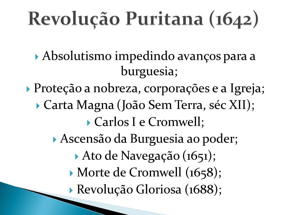  Absolutismo impedindo avanços para a burguesia;  Proteção a nobreza, corporações e a Igreja;  Carta Magna (João Sem Terra, séc XII);  Carlos I e Cromwell;  Ascensão da Burguesia ao poder;  Ato de Navegação (1651);  Morte de Cromwell (1658);  Revolução Gloriosa (1688);