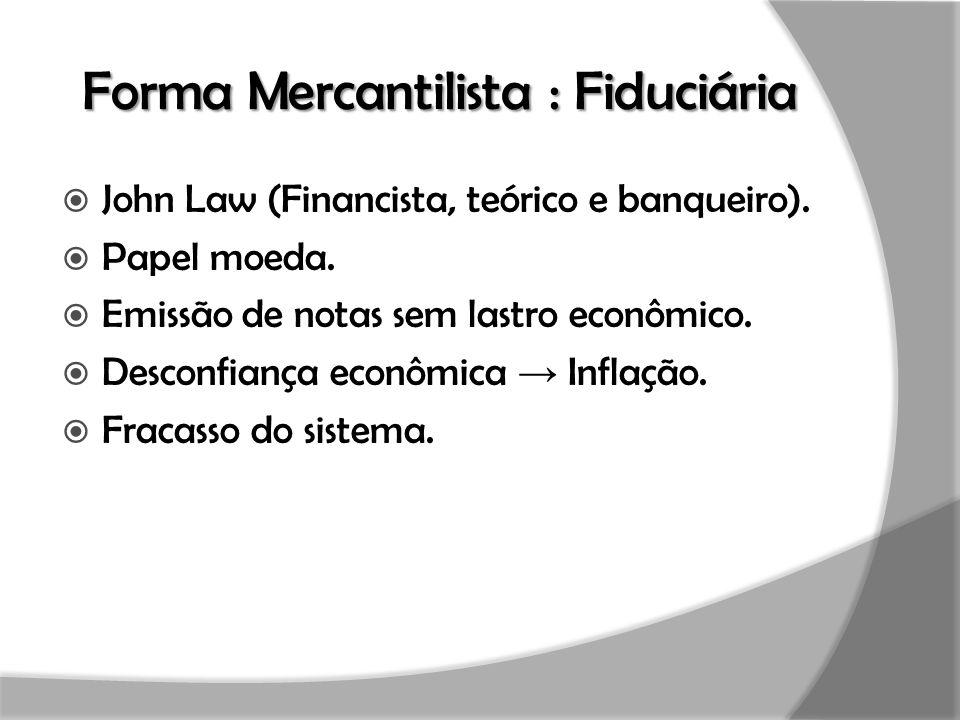 Forma Mercantilista : Fiduciária  John Law (Financista, teórico e banqueiro).  Papel moeda.  Emissão de notas sem lastro econômico.  Desconfiança