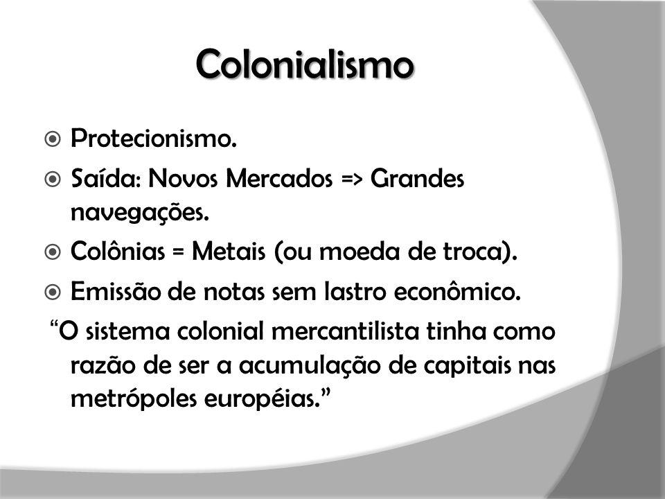 Colonialismo  Protecionismo.  Saída: Novos Mercados => Grandes navegações.  Colônias = Metais (ou moeda de troca).  Emissão de notas sem lastro ec