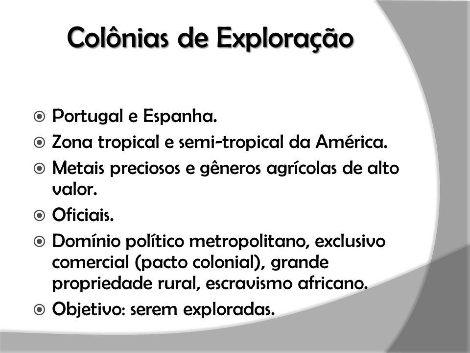 Colônias de Exploração  Portugal e Espanha.  Zona tropical e semi-tropical da América.  Metais preciosos e gêneros agrícolas de alto valor.  Ofici