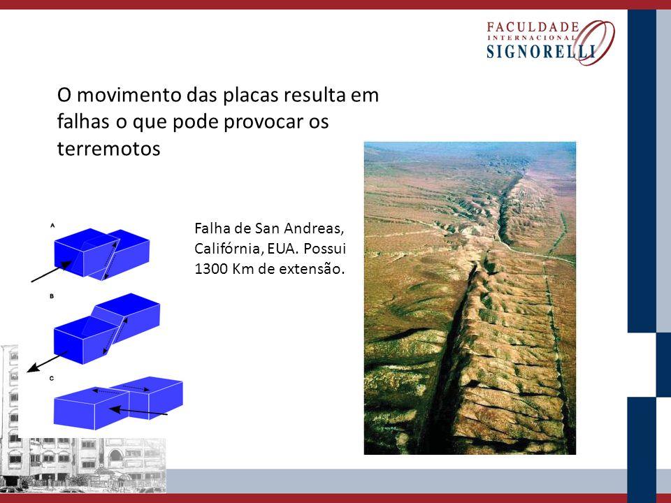 O movimento das placas resulta em falhas o que pode provocar os terremotos Falha de San Andreas, Califórnia, EUA. Possui 1300 Km de extensão.