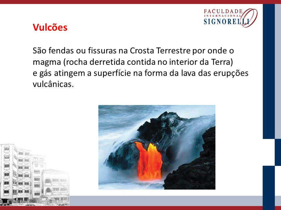 Vulcões São fendas ou fissuras na Crosta Terrestre por onde o magma (rocha derretida contida no interior da Terra) e gás atingem a superfície na forma