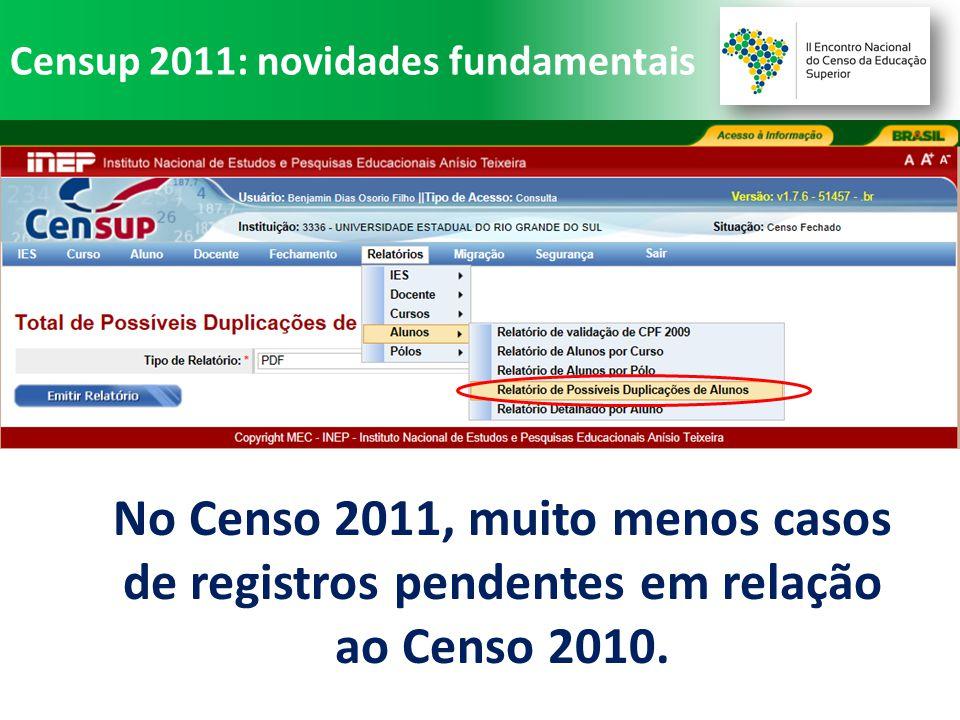 No Censo 2011, muito menos casos de registros pendentes em relação ao Censo 2010.