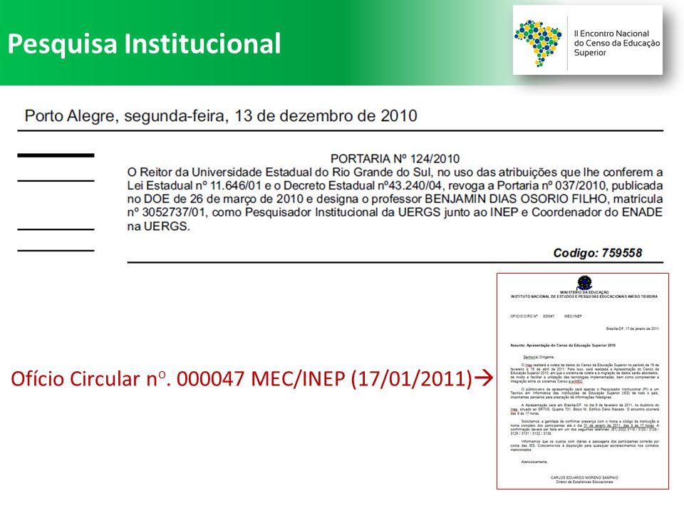 Pesquisa Institucional Ofício Circular n o. 000047 MEC/INEP (17/01/2011) 