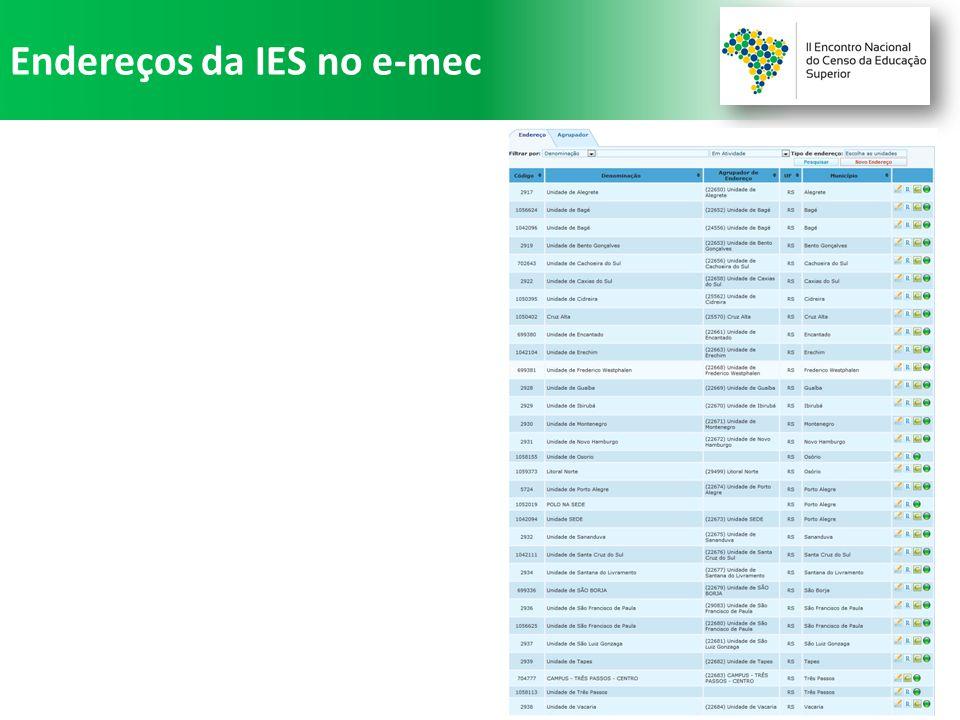 Endereços da IES no e-mec