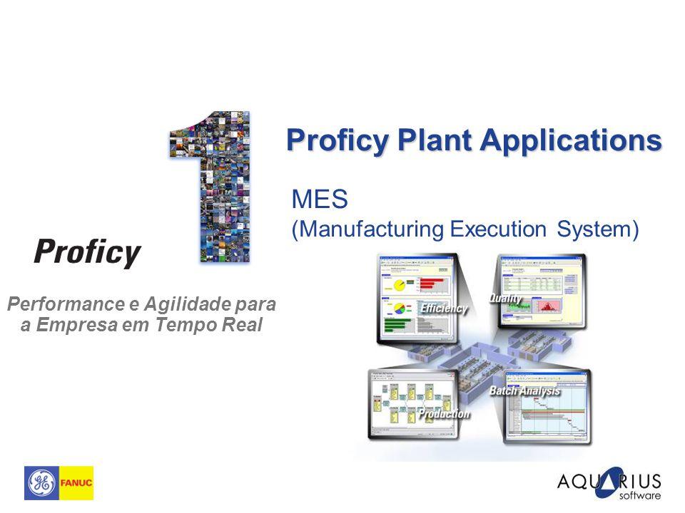 Performance e Agilidade para a Empresa em Tempo Real MES (Manufacturing Execution System) Proficy Plant Applications