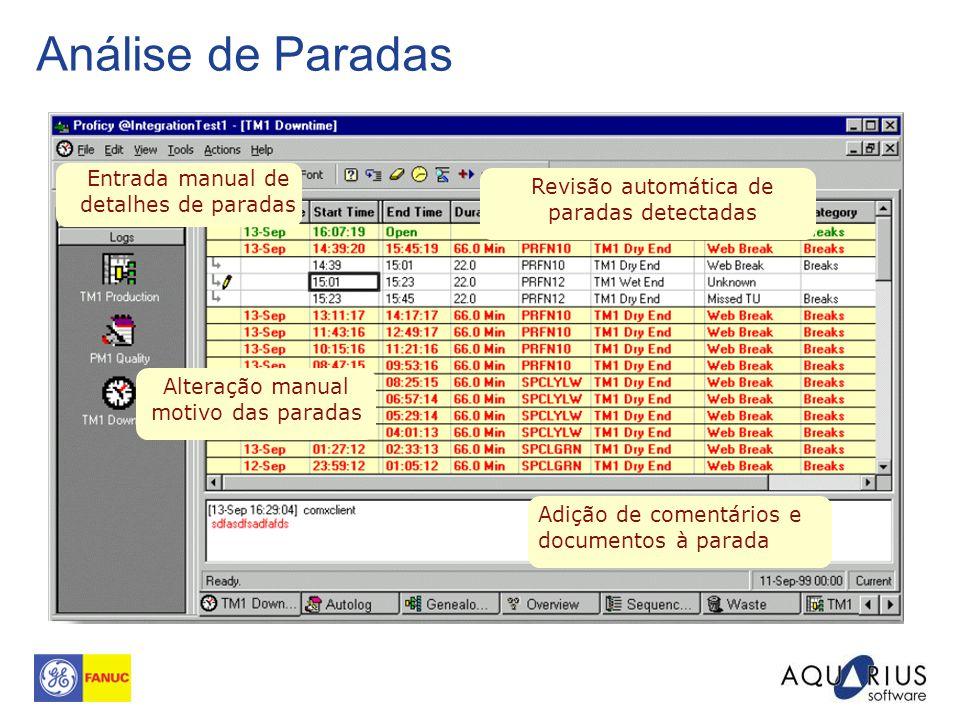 Análise de Paradas Entrada manual de detalhes de paradas Revisão automática de paradas detectadas Alteração manual motivo das paradas Adição de coment