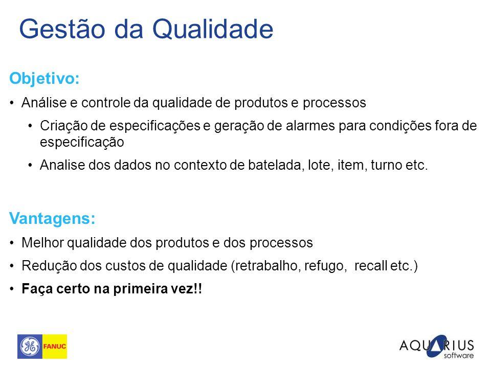 Gestão da Qualidade Objetivo: Análise e controle da qualidade de produtos e processos Criação de especificações e geração de alarmes para condições fo