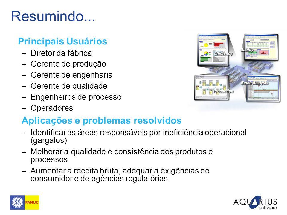 Resumindo... Principais Usuários –Diretor da fábrica –Gerente de produção –Gerente de engenharia –Gerente de qualidade –Engenheiros de processo –Opera