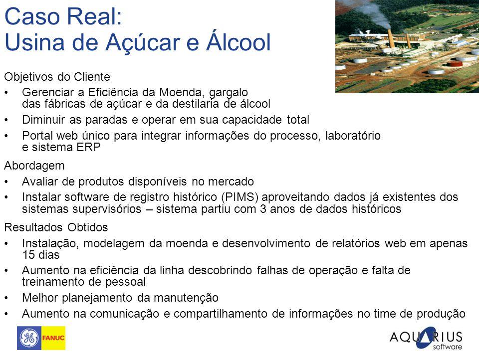 Caso Real: Usina de Açúcar e Álcool Objetivos do Cliente Gerenciar a Eficiência da Moenda, gargalo das fábricas de açúcar e da destilaria de álcool Di