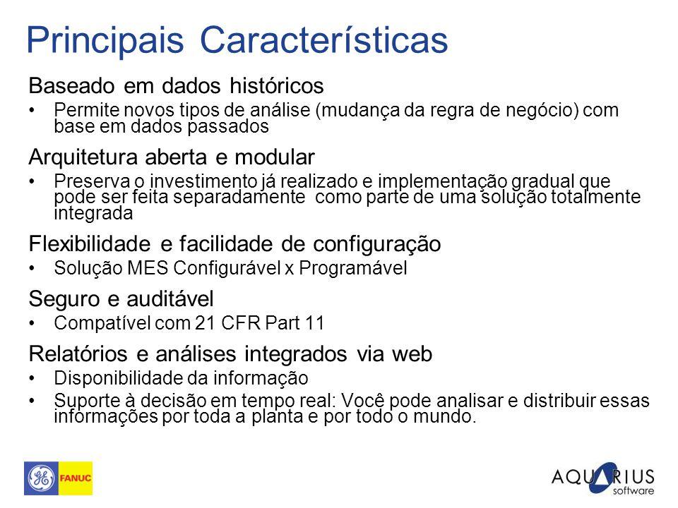Principais Características Baseado em dados históricos Permite novos tipos de análise (mudança da regra de negócio) com base em dados passados Arquite
