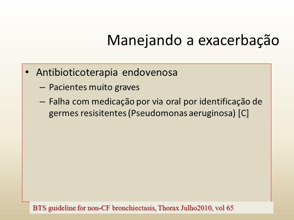 Manejando a exacerbação Antibioticoterapia endovenosa – Pacientes muito graves – Falha com medicação por via oral por identificação de germes resisite