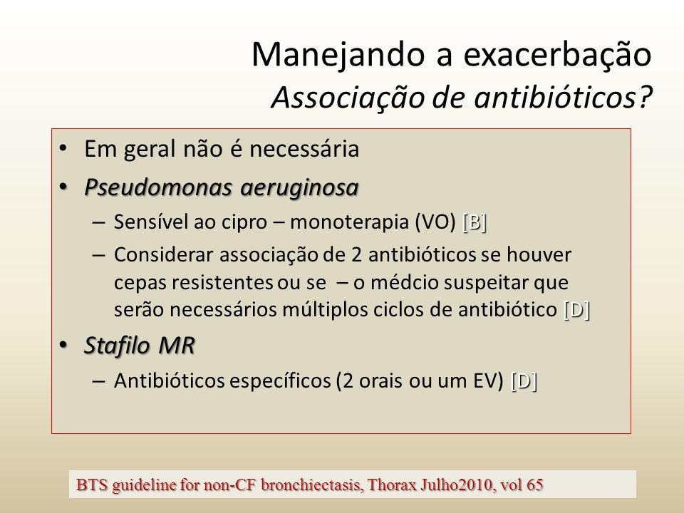 Manejando a exacerbação Associação de antibióticos? Em geral não é necessária Pseudomonas aeruginosa Pseudomonas aeruginosa [B] – Sensível ao cipro –