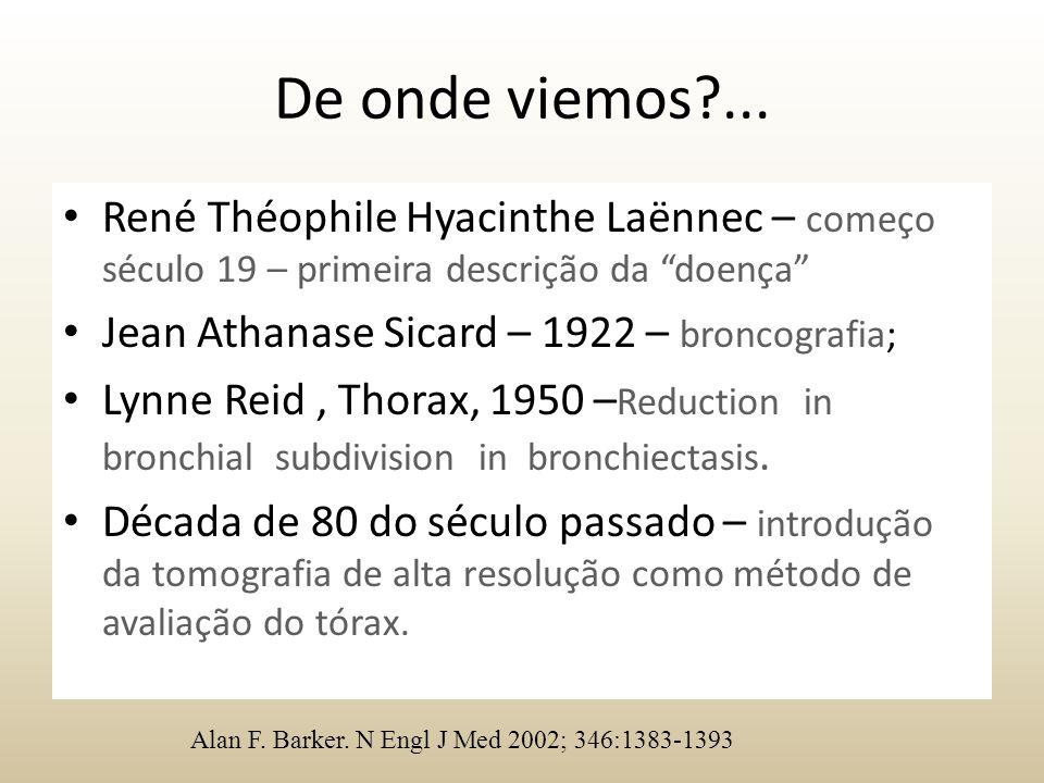 """De onde viemos?... René Théophile Hyacinthe Laënnec – começo século 19 – primeira descrição da """"doença"""" Jean Athanase Sicard – 1922 – broncografia; Ly"""