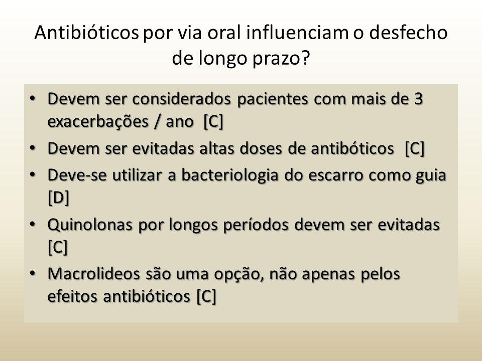 Antibióticos por via oral influenciam o desfecho de longo prazo? Devem ser considerados pacientes com mais de 3 exacerbações / ano [C] Devem ser consi