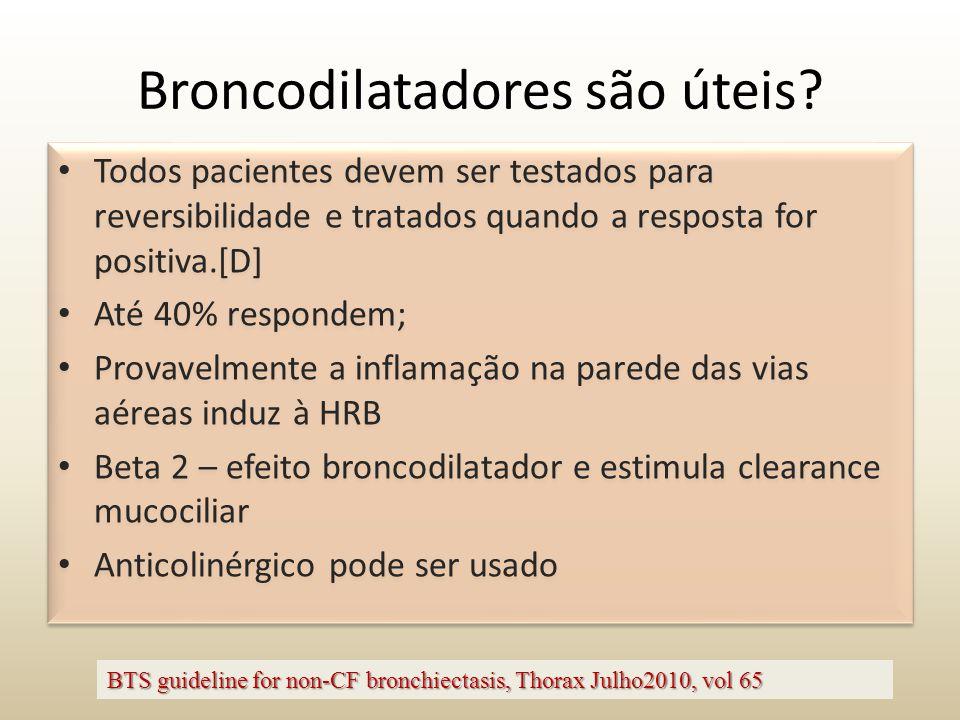 Broncodilatadores são úteis? Todos pacientes devem ser testados para reversibilidade e tratados quando a resposta for positiva.[D] Até 40% respondem;