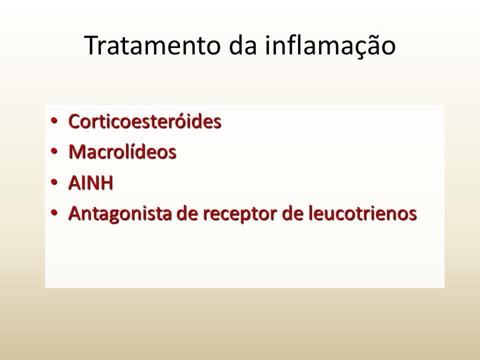 Tratamento da inflamação Corticoesteróides Corticoesteróides Macrolídeos Macrolídeos AINH AINH Antagonista de receptor de leucotrienos Antagonista de