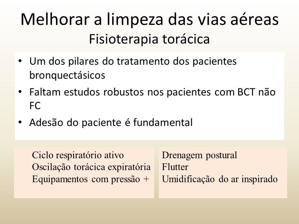 Um dos pilares do tratamento dos pacientes bronquectásicos Faltam estudos robustos nos pacientes com BCT não FC Adesão do paciente é fundamental Melho