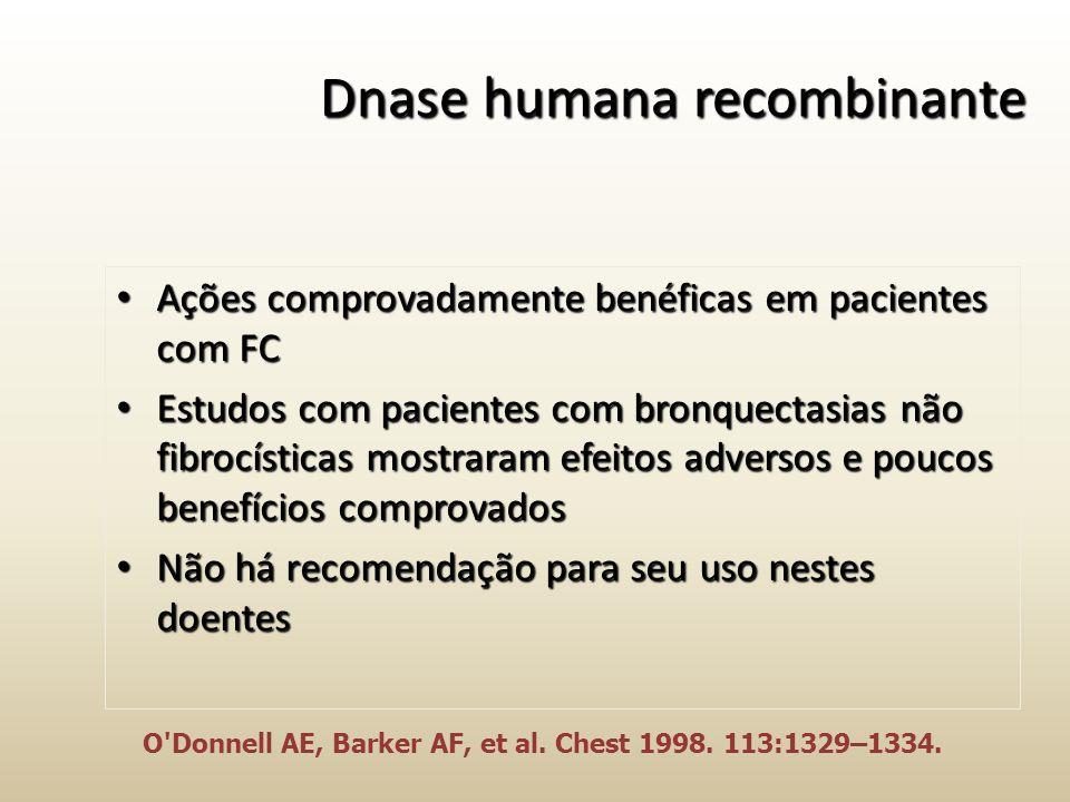 Dnase humana recombinante Ações comprovadamente benéficas em pacientes com FC Ações comprovadamente benéficas em pacientes com FC Estudos com paciente