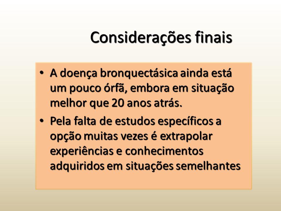 Considerações finais A doença bronquectásica ainda está um pouco órfã, embora em situação melhor que 20 anos atrás. A doença bronquectásica ainda está