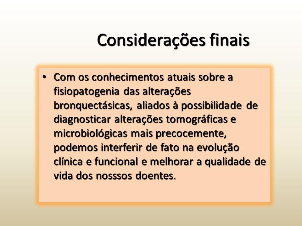 Considerações finais Com os conhecimentos atuais sobre a fisiopatogenia das alterações bronquectásicas, aliados à possibilidade de diagnosticar altera