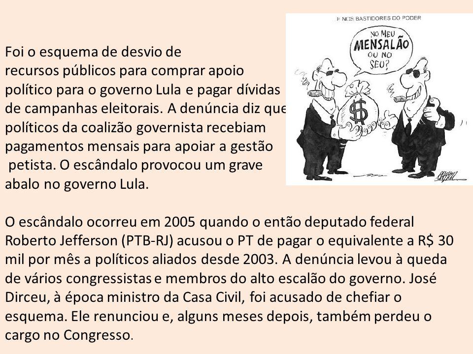 Foi o esquema de desvio de recursos públicos para comprar apoio político para o governo Lula e pagar dívidas de campanhas eleitorais. A denúncia diz q